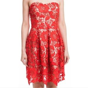 LUSH Red Lace Overlay Strapless Cocktail Dress - L